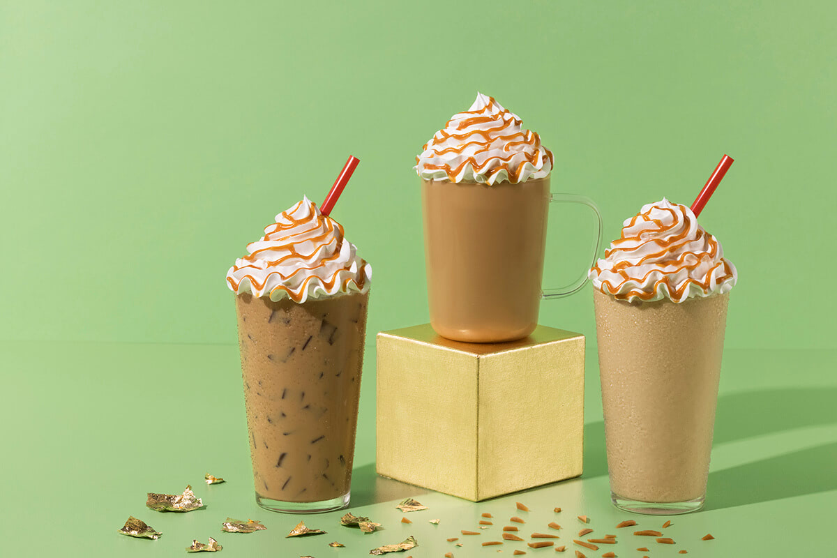 Hot, Iced, and Blended Pot O' Gold Lattes