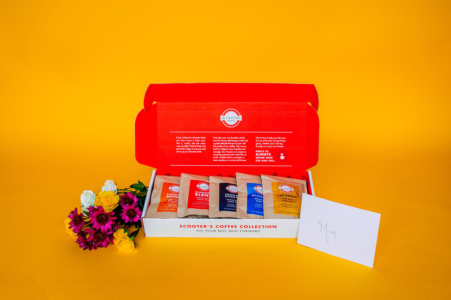 Coffee gift box on yellow background