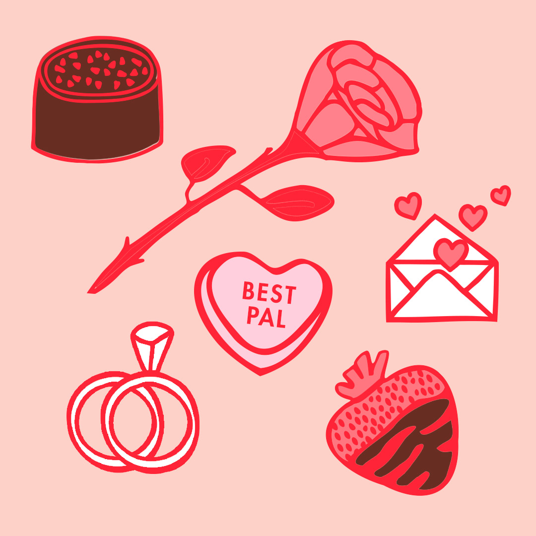 Animated items including chocolate, rose, card, candy, rings, and strawberry