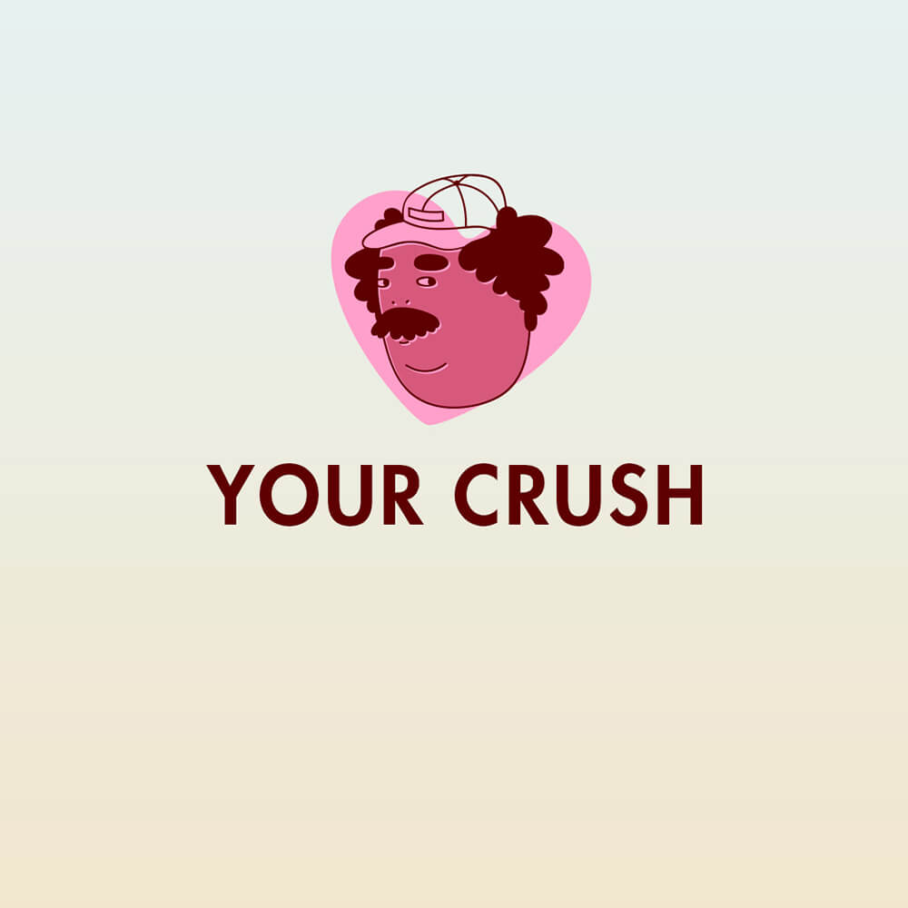 Icon of man in hat on a pink heart with the words Your Crush