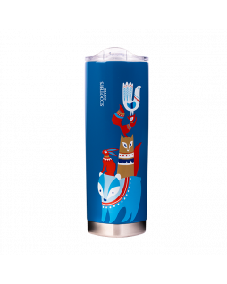 20oz blue Scooter's Coffee tumbler with various animals