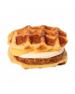 Sausage and egg patty topped with cheese between two waffles