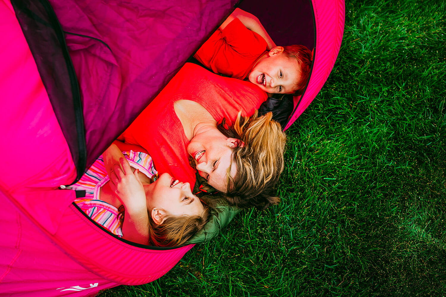 Kids laughing in tent