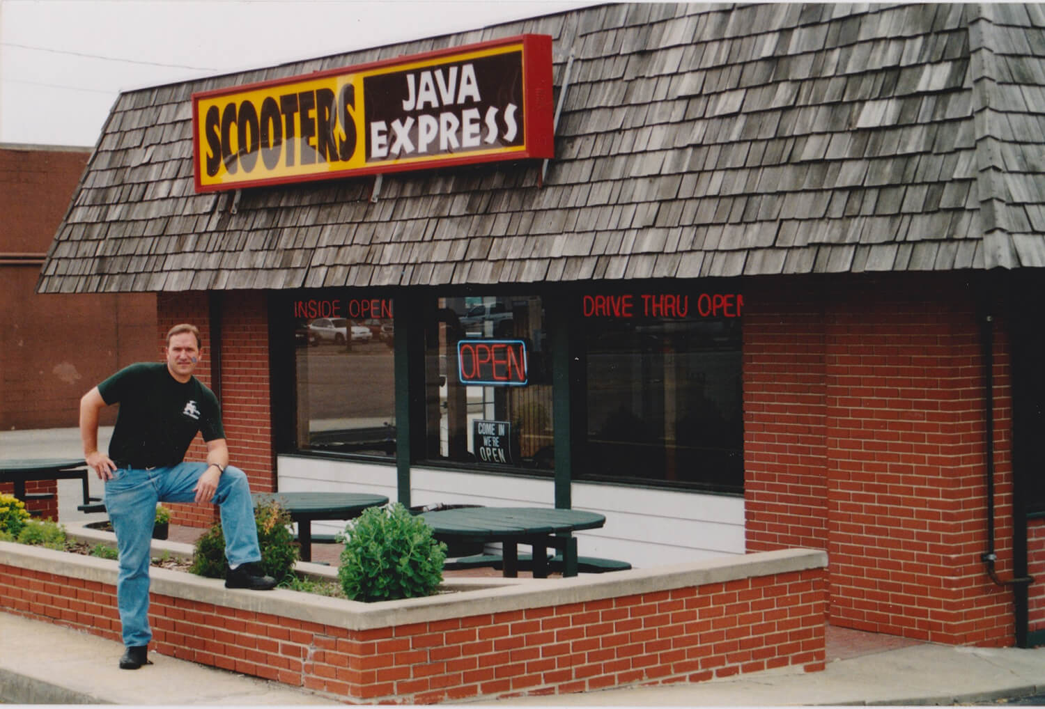 Don standing outside of Scooter's Coffee