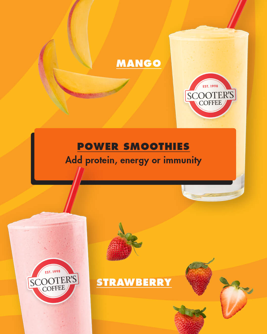 Strawberry and Mango smoothie on yellow background