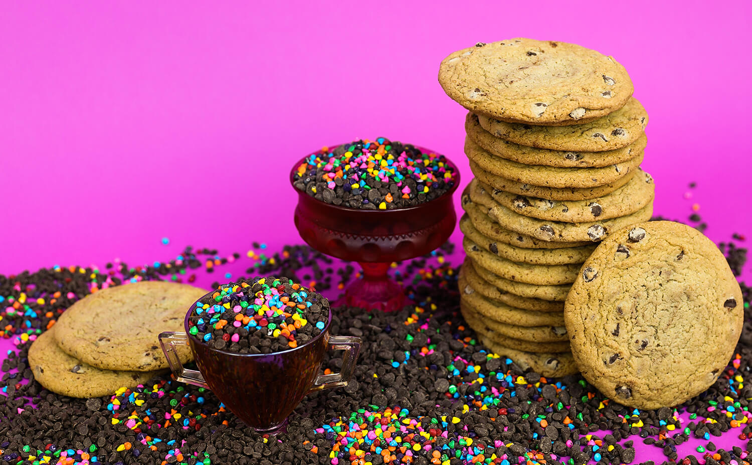 Chocolate chip cookies on pink background